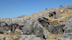 Peru Sacsayhuaman rugged rocks and natural slides 3 Stock Footage