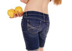 Closeup of woman with apples. Stock Photos