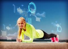 woman doing sports outdoors - stock illustration