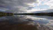 Stock Video Footage of Summer lake with mirrored clouds