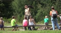 Falconry session and event with kids and female falconer HD Footage