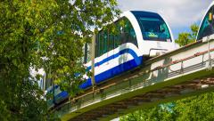 Monorails moving towards each other. HD 1080. - stock footage