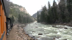 Antique coal steam railroad along mountain river 4K 135 Stock Footage