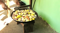 roasted lamb under the bell with a vegetables,traditional grill - stock footage