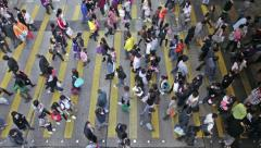 Busy Crossing Street in Hong Kong, China- Time Lapse 1080 Stock Footage