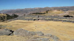 Peru Sacsayhuaman view looking down on fortress complex 8 Stock Footage