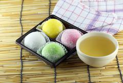 Japanese desserts made of sticky rice. Stock Photos