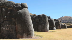 Peru Sacsayhuaman wall with rounded buttress stones 9 Stock Footage