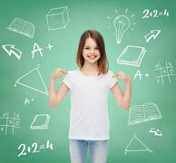 Smiling little girl in white blank t-shirt Stock Illustration