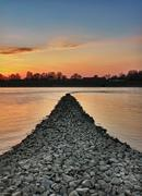 Sunset at rhein river, wörth, germany Stock Photos