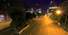 Frankfurt Night Traffic at Theodor-Heuss-Allee Time-lapse 4K Stock Footage