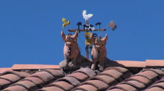 Peru Sacred Valley ceramic bulls on roof top 13 Stock Footage