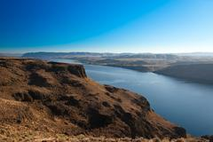 Canyon of Columbia river, (view from Wanapum Vista view point), Washington, USA - stock photo