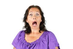 shocked woman with open mouth - stock photo