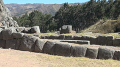 Peru Quenko fitted stone walls at ruin site 8 Stock Footage