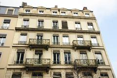 Old european apartments with balconies Stock Photos