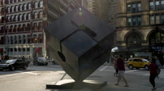 Cube Sculpture in Cooper Square Manhattan New York City NYC USA 4K Stock Footage