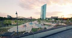 European Central Bank Skatepark Time-lapse 4K Stock Footage