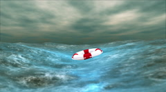 Storm at Sea and Lifebuoy HD Stock Footage