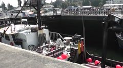 Boats Lined Up On Both Sides Of The Locks Stock Footage