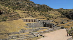Peru Tambomachay embedded ruins and rugged hillside 1 Stock Footage