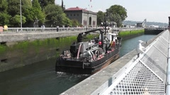 Work Boat Inside Ballard Locks Stock Footage