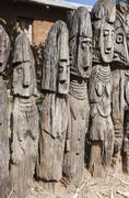 waga - carved wooden grave markers. arfaide (near karat konso). ethiopia. - stock photo