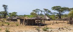 Small village in tsemay territory near weita. omo valley. ethiopia Stock Photos