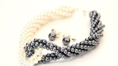 Glamorous Pearls Necklace and Earrings Set HD Stock Footage