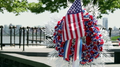 Memorial Day Floral Arrangement and American Flag Stock Footage