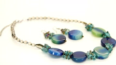 Glamorous Blue Green Necklace and Earrings HD - stock footage