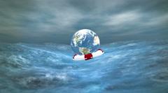 Earth on Lifebuoy HD Stock Footage