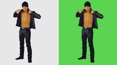 Sexy man wears a black jacket Stock Footage