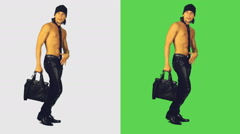 half-dressed sexy man with the bag - stock footage