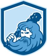 Hercules wielding club shield retro Stock Illustration