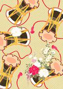Oriental background with Japanese traditional pattern and hand drum Stock Illustration