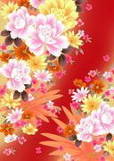 Stock Illustration of Oriental background with peony and chrysanthemum