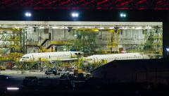 Commercial Aircraft Hangar at Night Stock Footage
