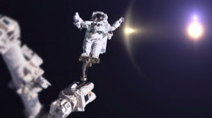 0181 Astronaut Spacewalk by Earth, HD Stock Footage