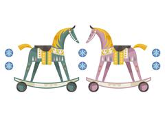 Wooden horse - stock illustration