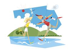 Boy and girl playing in the river - stock illustration