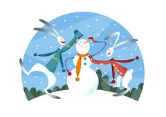 Rabbit couple making a snowman - stock illustration