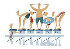 Three-generation family, swimming - stock illustration