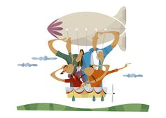 Three-generation family in an airship - stock illustration