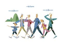 Three-generation family, hiking Stock Illustration