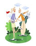 Couple playing golf - stock illustration