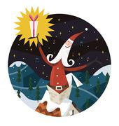 Santa Claus coming out of a chimney - stock illustration