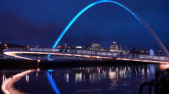 Millennium Bridge and The Sage at dusk, Newcastle Stock Footage