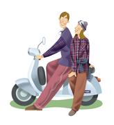 Stock Illustration of Couple riding a scooter