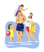 Family bathing in the sea Stock Illustration